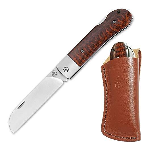 QSP Worker, 2-Hand-Taschenmesser mit N690 Böhler Klingenstahl, braune Griffschalen aus Schlangenholz, Taschenclip und Leder- Gürtelscheide