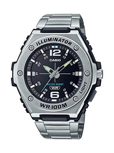 Casio Men's Heavy Duty Analog Quartz Stainless Steel Strap, Silver, 42 Casual Watch (Model: MWA-100HD-1AVCF)