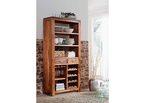 MASSIVMOEBEL24.DE Akazie Massivmöbel Holz Honig Weinschrank massiv Massivholz Möbel Shaman #76