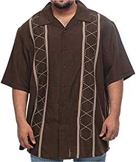 Synrgy Big and Tall Maze Design Short Sleeve Dress Shirt for Men