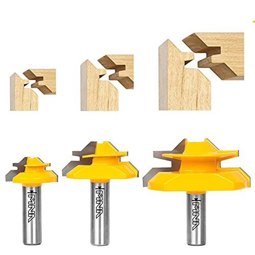 """MNA 45 Degree Lock Miter Router Bit 3-Piece Set, for 1/2"""", 3/4"""", 1"""" Cutting Height, 1/2 Inch Shank. Easy to Create Lock Miter Joint"""