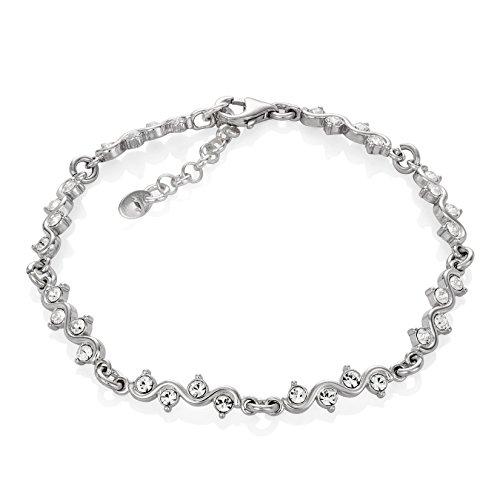 LillyMarie Donne Bracciale in Argento Sterling 925 Swarovski Elements Originali Onda Lunghezza Regolabile Custodia per Gioielli Bridal Jewelry