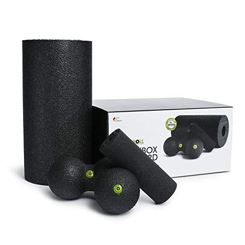 BLACKROLL® BLACKBOX Faszientool-Set - das Original. Selbstmassage-Produkte für die Faszien in schwarz + Übungskarte