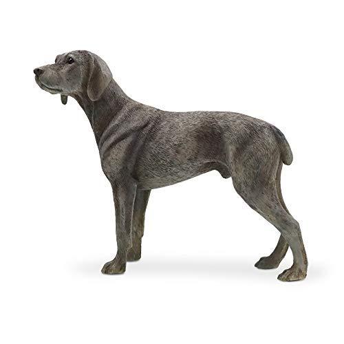 JY&WIN Adornos Escultura Estatuas Animales El Nuevo Modelo de Weimaraner Simulación Perro Weima alemán Adornos para Perros Artesanía de automóviles con Soldados Postura de pie