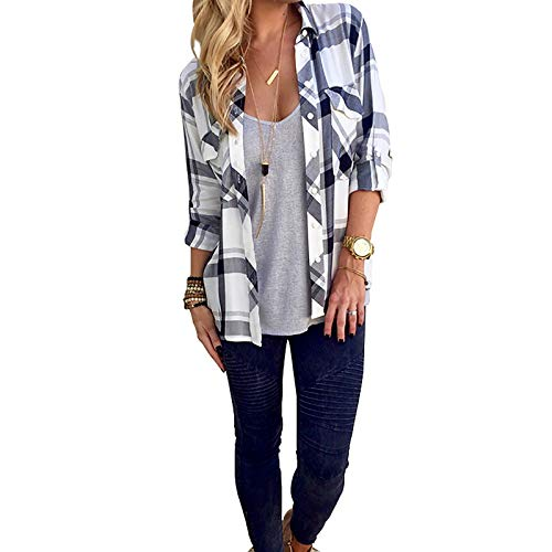 Tshirt damskie eleganckie bluzka, wiosna koszulka bluzka satyna z długim rękawem Topy V Neck T-shirt Tops Koszulowane Bluzki Sprawdź wzór z kratą,White,S