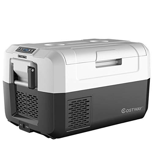 COSTWAY Autokühlschrank Kühlbox elektrisch Mini-Kühlschrank Reisekühlschrank, Kühl- und Gefrierkombination / 60W / -26℃ bis 10℃ / DC 12/24V / AC 100-240V / für Auto, LKW, Wohnmobil (35L)
