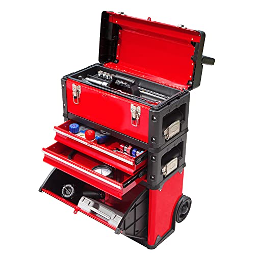 BIG RED TRJF-C305ABD Torin Garage Workshop Organizer: Portable Steel and Plastic Stackable Rolling Upright Trolley Tool Box with 3 Drawers, Red