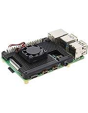Geekworm Raspberry Pi 4(ラズベリーパイ)用アルミ合金ヒートシンク、2507 5V冷却ファン付きの埋め込みアーマーヒートシンク、ラズベリーパイ4モデルBのみ適用