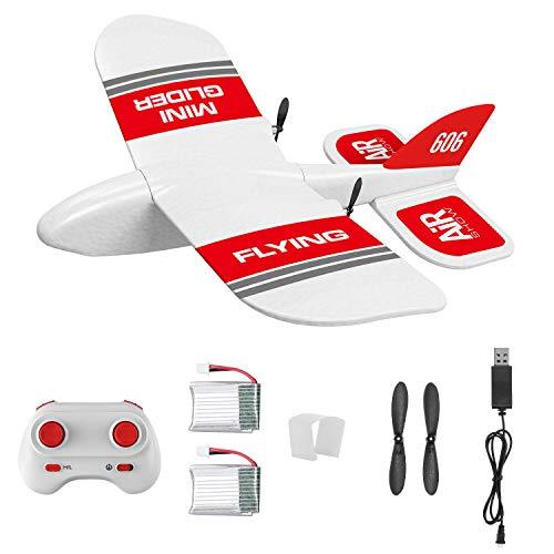 Goolsky- KF606 2.4G RC Airplane Flying Aircraft para Principiantes EPP Foam Glider Avión de ala Fija RTF Foam Plane Control Remoto Gliding Aircraft Modelo Juguetes Regalos para Niños con 2 Baterías