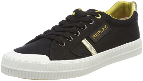 Replay Damen Dayton Sneaker, Mehrfarbig (Black Gold), 36 EU