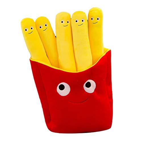 Simulación de dibujos animados pizza patatas fritas almohada de peluche cojín de juguete de peluche de los niños de la muñeca de la casa tienda restaurante decoración regalo de cumpleaños