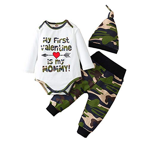 My First Valentine's Day Baby Boy Outfit Letter Print Romper +Camouflage Pants+ Hat 3pc Valentine Clothes Set (White, 0-6M)
