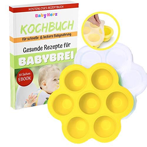 Baby Gefrierform mit Silikondeckel zur Aufbewahrung von Babynahrung - Versch. Farben zur Auswahl - ohne Weichmacher und zu 100% BPA frei (Gelb)