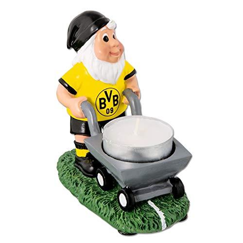 Borussia Dortmund Gartenzwerg mit Markierwagen, Teelichthalter, Zwerg, Gnom BVB 09 (L)