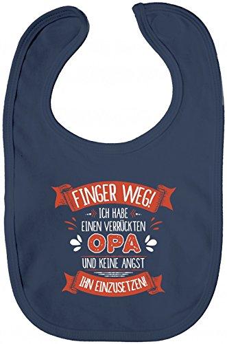 Shirt Happenz Baby Spruch Opa Lätzchen | Finger Weg | Opa | Verrückt | Sabberlätzchen | Baby-Lätzchen, Farbe:Blau (Nautical Navy BZ12);Größe:OneSize