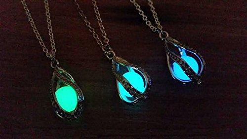 Jewelry tycoonGlow in the Dark Dragon Egg, Mermaid Tear, Glowing Necklace, Glow in the Dark Tear Drop Necklace, Dainty Necklace, Blue Green Aqua
