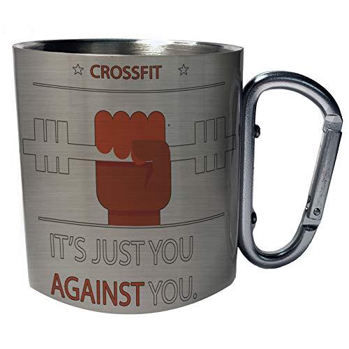 Crossfit Forging Elite Fitness Love Gym Taza de viaje mosquetón de acero inoxidable 11oz c487c