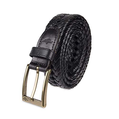 Dockers Men's Leather Braided Casual and Dress Belt,Black Glazed,42