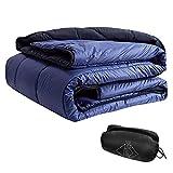 onewind Outdoor Waterproof Blanket Puffy, Packable, Lightweight and Warm-Blanket Camping Quilt for Travel, Stadium, Festivals, Beach (Dark Blue-Blanket Full Size)