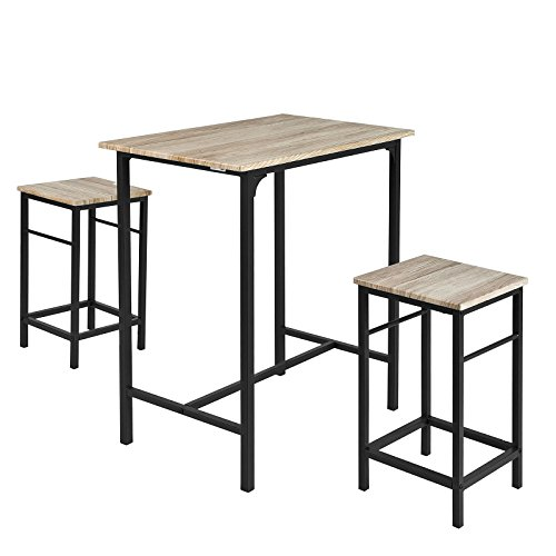 Haotian OGT10-N, 3 Piece Dining Set,Dining Table with 2 Stools,Home Kitchen Breakfast Table,Bar Table Set, Bar Table with 2 Bar Stools,Kitchen Counter with Bar Chairs