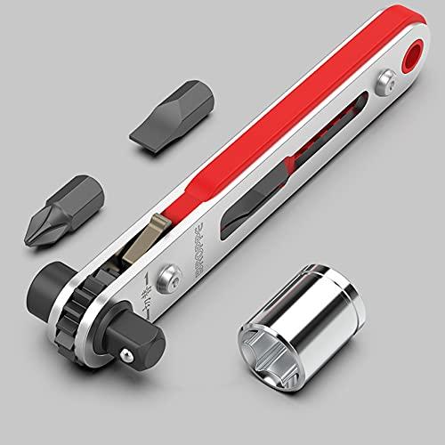 ZSDFW Mini destornillador de llave de trinquete con destornillador hexagonal ranurado y Torx 1/4 tamaño de unidad reversible mango de transmisión y juego de múltiples puntas, rojo plateado