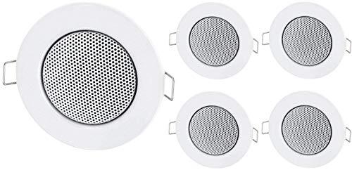 5er Pack - Einbau Mini Lautsprecher Vollmetall Deckenlautsprecher - Halogen-Design - Weiss