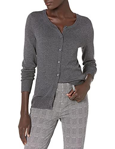Amazon Essentials Women's Lightweight Crewneck Cardigan Sweater, Charcoal Heather, Medium