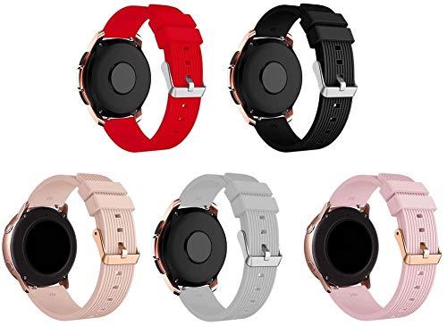 Correa de Reloj de Silicona Suave Compatible con Garmin Vivoactive 3 (44MM) / vivoactive 3 Music/Vivomove Style, Repuesto Ideal (20mm, 5-Pack H)