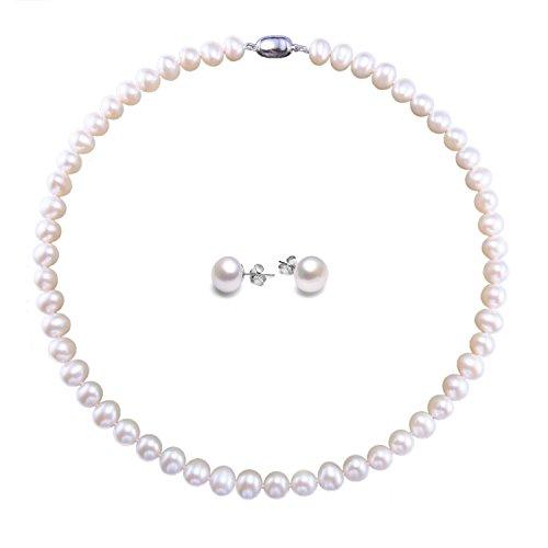 El collar con la perla blanca 8-9mm cultivada de agua dulce y los pendientes para la boda VIKI LYNN