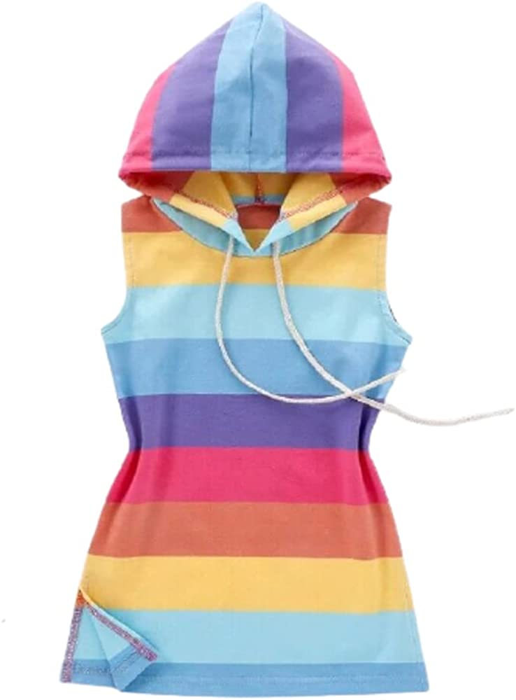 Rainbow Stripes Kids Summer Sleeveless Dress for Girl Blouses Tops Cotton Casual