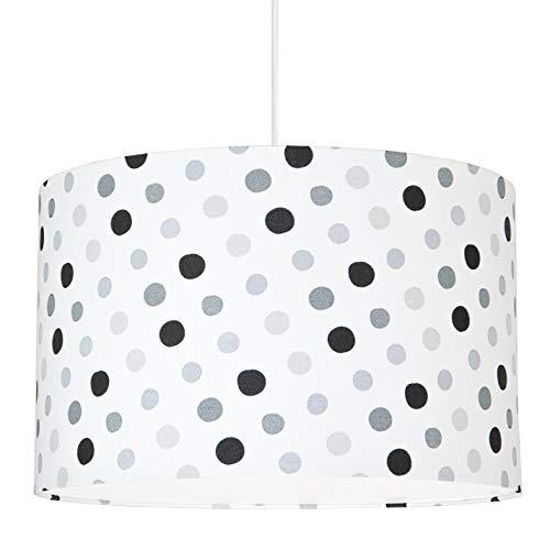 youngDECO Lampe für Baby- und Kinderzimmer, glückliche graue Punkte, 2xE27, Ø38cm großer Lampenschirm aus Textil, skandinavische Kinderzimmer-Deko für Mädchen, komplette Deckenlampe für Kinderzimmer