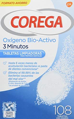 Corega Oxígeno Bio-Activo 3 Minutos Tabletas Limpiadoras para Prótesis Dentales, Férula Dental...