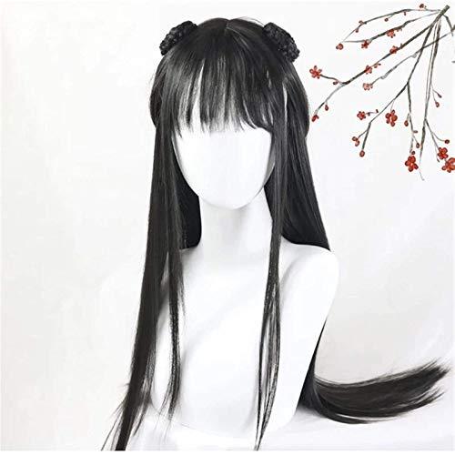 Hermosa Peluca Larga Ondulada Pelucas para Mujeres Cosplay Peluca para Mujer Estilo Chino Disfraz Ancient Hanfu Wig Cos Elder Sister Wigs (Longitud Estirada: 26 Pulgadas) Pelucas de Fiesta