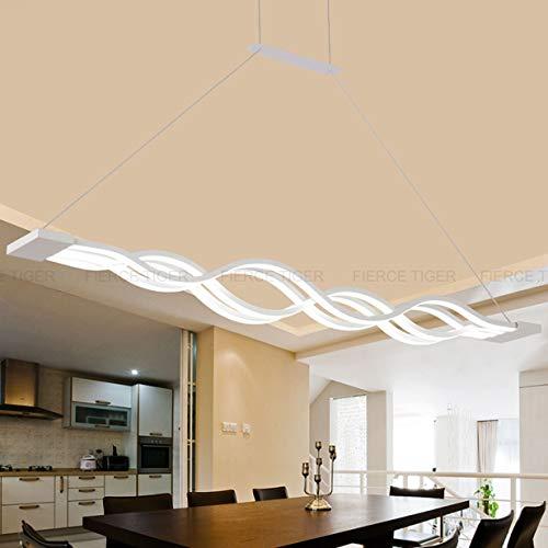 Lampara colgante Regulable LED Mesa de comedor Lampara Moderno Disenador creativo Arana de altura Ajustable Metal Ola Lampara de techo Lampara colgante Sala de estar Oficina Bano Lampara (4 Ola)