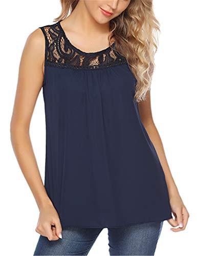 Abollria dames topje elegante feestelijke mouwloze blouse met kanten vloeiende chiffon zomertop