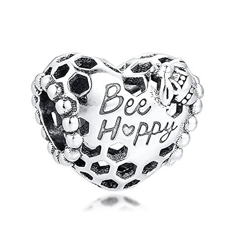 Pandora 925 colgante de plata esterlina DIY Qandocci feliz abeja nido de abeja corazón encanto granos se adapta a pulseras joyería femenina