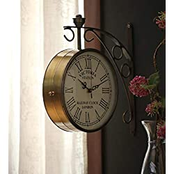 CraftStar 12 inch Antique Brass Victoria Station Clock Double Sided Clock Vintage Railway Clocks for Home,Living Room,Office (Golden) 8 inch. (10 INCH)