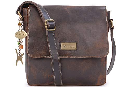 Catwalk Collection Handbags - Vintage Grobem Leder - CATWALK COLLECTION - Mittlere Größe - Umhängetasche Messenger/Schultertasche/Arbeitstasche für Damen - Tablet/iPad - SABINE - Braun
