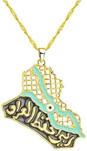 Liuqingzhou Co.,ltd Collar con Colgante de Oro múltiple Collares de Cadena con Colgante de Mapa Africano Americano de Asia para Mujeres y Hombres joyería