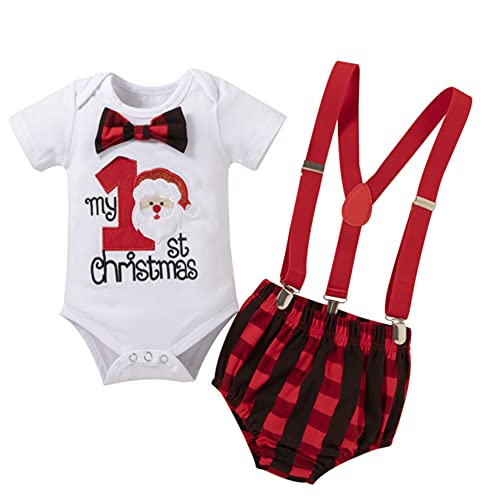 1st Christmas Outfit Baby Boys Cosplay Santa Claus Costume Cake Smash Photo Shoot Bowtie Romper Suspenders Shorts Buffalo Plaid Toddler Gentleman First Birthday Winter Themed Party Supply 9-12 Months