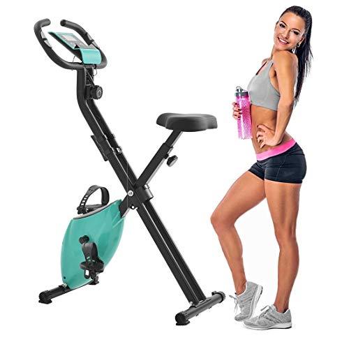 Anbel Plegable Vertical/Accumbent la Bicicleta estática con 10 Grado de Resistencia Ajustable, Pantalla LCD, la tensión del brazal (Color : Tiffany Blue)