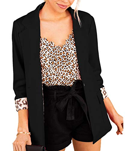 Womens Suit Jacket Formal Office Business Work Jacket Casual Short Cardigan Office Coat (Medium, Black)