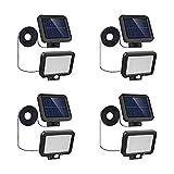 4PCS Luz Solar Exterior con Detector de movimiento, IP65 impermeable iluminacion Exterior 520LM Foco Solar, 56 LED 6500K luz solar de seguridad para pared con cable de 16.5ft para jardín