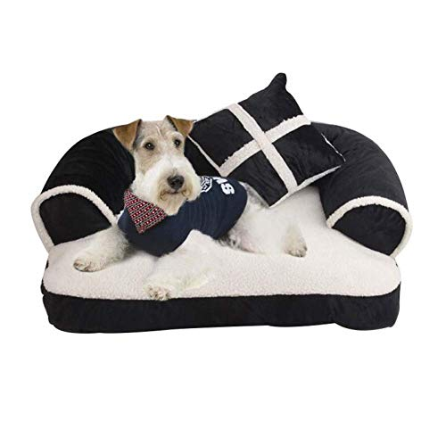 ZHAS Pet sofa bed with pillows, removable washing machine, soft cat bed