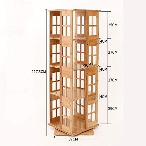 MTG Estante Estantería Estantería de bambú natural Librería giratoria, 360 Gabinete de almacenamiento giratorio Gabinete Medios de comunicación Torre Torre Ahorro de espacio y fácil de instalar,4 niv