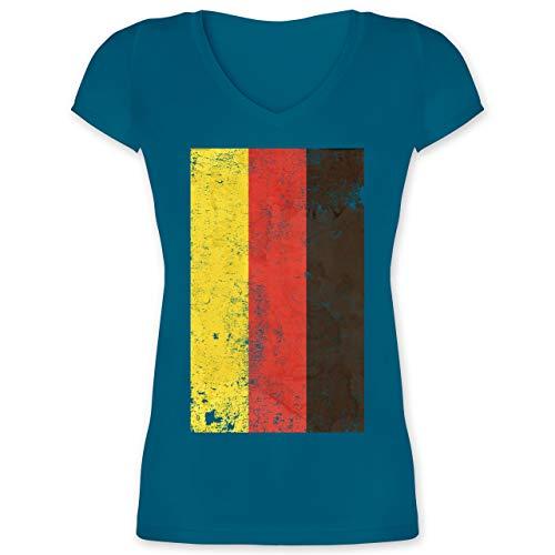 Handball WM 2021 - Deutschland Flagge Vintage - XL - Türkis - Fußball - XO1525 - Damen T-Shirt mit V-Ausschnitt