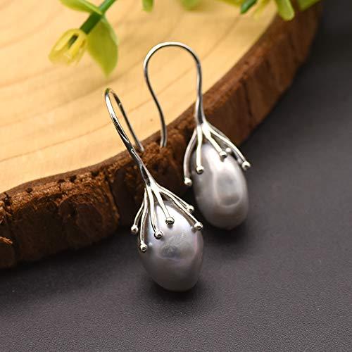 Natürliche Süßwasser Barock Grau Perle Ohrringe Für Frauen 925 Sterling Silber Tropfen Ohrringe Luxusschmuck