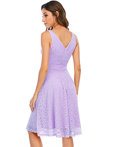 Kleid Damen Damen Kleider Abendkleider Gelb kurz Rockabilly Kleider Damen Vintage Kleid Kleid Hochzeit gast cocktailkleid festliches Kleid mädchen Lavender L