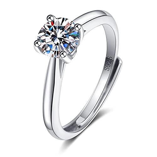 NIUBKLAS Anillo Brillante Ajustable de Regalo de Lujo de Moda de circonita cúbica de Diamantes de Compromiso de Boda romántica