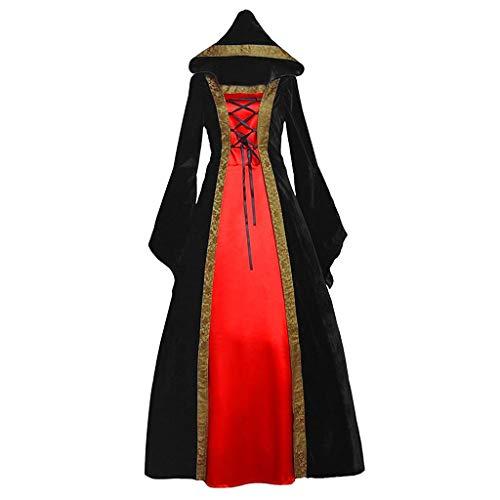 NHNKB Disfraz medieval para mujer, disfraz de renacimiento, de terciopelo, para Halloween, carnaval, bruja, vampiro, gótico, Cosplay, Queen Victoria, color rojo, M